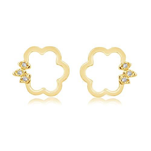 ❤️ Mille Amori Damen Ohrringe – 9 Karat (375) Gelbgold 375/1000 – Diamanten 0.03 Karat – Joy Collection