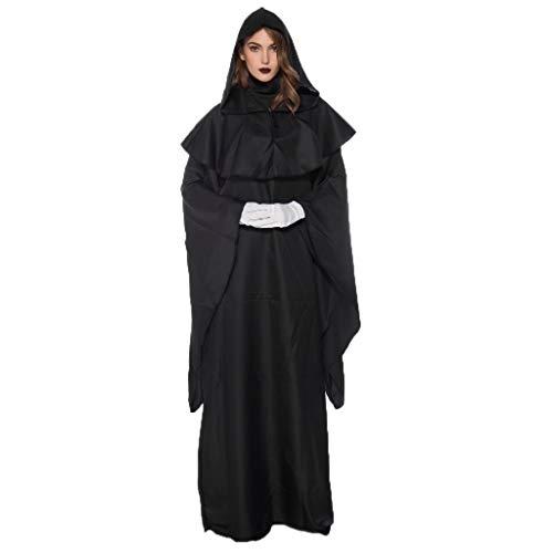 mounter- Damen Herren Halloween Cosplay Kostüm Schwarz Umhang Umhang Zauberer Kapuzenmantel Party Paare Vintage Kleid Gr. 48, Schwarz (Gute Kostüm Für Übergröße)