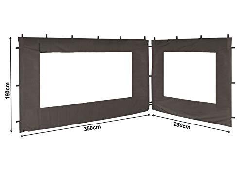 QUICK STAR 2 Seitenteile für Pavillon Nizza 3x4m Seitenwand Grau