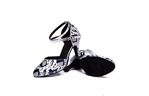 SQIAO-X- La sig.ra Ballo latino Piazza scarpe scarpe da ballo fondo morbido adulto scarpe da ballo, High-Heeled scarpe da ballo 8cm (terreno morbido)