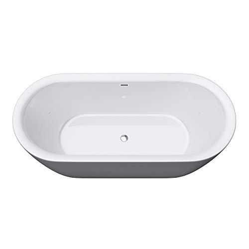 Mai & Mai Freistehende Badewanne Acrylwanne 2 Personen in Weiß inkl. Ablaufgarnitur PushOpen 180x65x60 cm