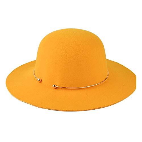 olle Dome Bucket Schwarz Filzhut mit Metallring Fedora Hat Jazz Hat Hut mit breiter Krempe Größe 56-58CM Strand Hut Pork Pie Hut (Farbe : Orange) ()