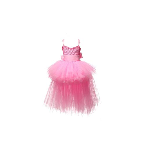 lingmo Mädchen Tutu-Kleid Tüll mit V-Ausschnitt Zug-Abend, Rosa, 2T