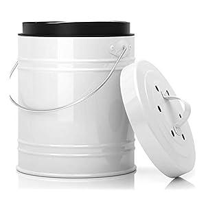 5 Liter Küchen Bio Mülleimer und geruchsdichter Komposter Eimer mit Aktivkohlefilter im Deckel - Biomülleimer Mülltonne mit Kunststoff Inneneimer - robuster Komposteimer Abfallbehälter   EINWEG