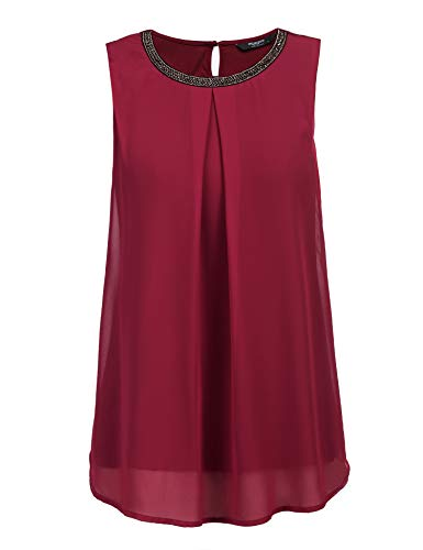 FINEJO T Shirt Damen Sommer Bluse Damen Top ärmellos Reine Farbe Lose Freizeithemd Blusen