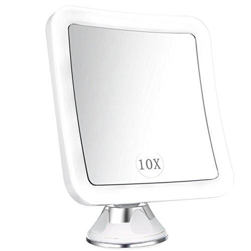 Kosmetikspiegel Vergrößerungsspiegel LED Beleuchtet mit 10-fach Vergrößerung und Starkem Saugnapf, 360° Schwenkbar, Natürlich Tageslicht, Tragbar Schminkspiegel Rasierspiegel mit Beleuchtung für Zuhause und Reise