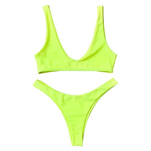 ZAFUL Damen Push-up Solide Biniki Set High Cut Badeanzug Neon Gelb S