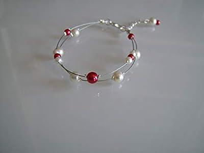 Bracelet Femme Mariée Mariage Bijoux Ivoire Crème Ecru Blanc cassé Beige clair Rouge robe de Soirée Cérémonie Perles style culture (pas cher, petit prix)