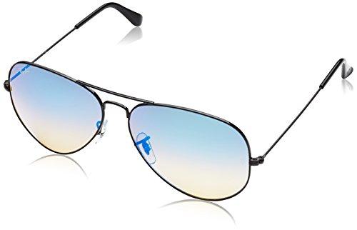 Ray Ban Unisex Sonnenbrille Aviator Gestell: schwarz, Gläser: blau Gradient, verspiegelt 002/4O), X-Large (Herstellergröße: 62)