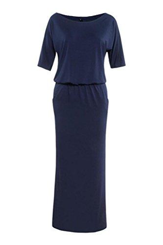 Bluester Femmes été long Maxi BOHO robe de soirée avec poche Bleu marin