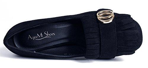 AgeeMi Shoes Damen Rund Schließen Zehe Wildleder Blockabsatz Schuhe mit Quasten Schwarz