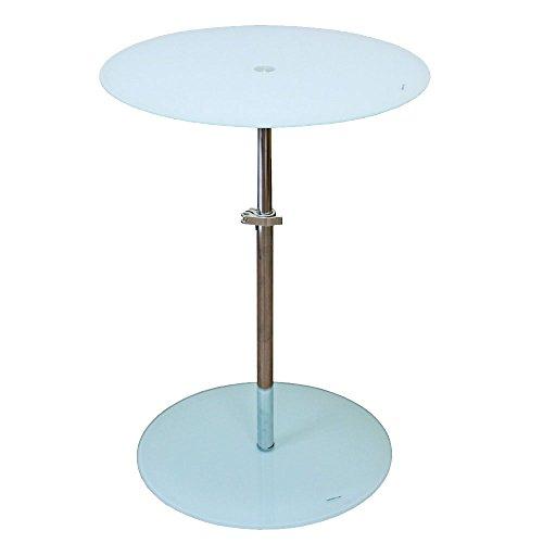 BHP Table d'appoint Hauteur réglable Salle de séjour étagère Verre Chrome Ronde Appartement