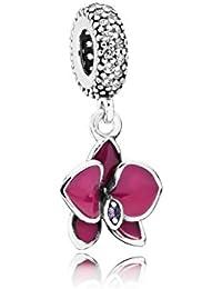 Pandora Damen-Charm Orchidee 925 Silber Emaille Zirkonia weiß - 791554EN69