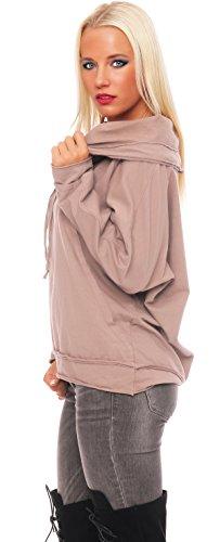 ZARMEXX Sweatshirt Pour Dames Pull à capuche Vintage à capuche Doux Coton Extra-large Pull Manches Longues Cappuccino