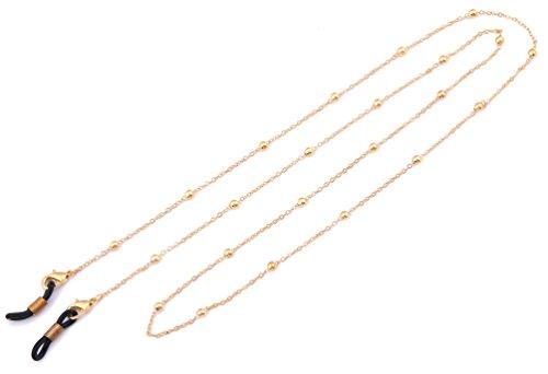 LIKGREAT Schlüsselanhängerform Ketten Frauen Perlen Lesebrille Bindekordeln Sonnenbrille Gurt Gold, Black Connector