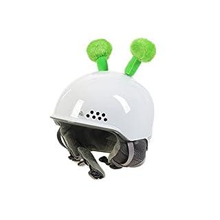 Crazy Ears Helm-Accessoires Biene Teddy Maus Katze. Ski-Ohren geeignet für Skihelm Motorradhelm Fahrradhelm und vieles mehr. Helm Dekoration für Kinder und Erwachsene, CrazyEars:Grüne Fühler