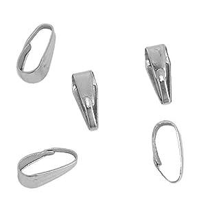 5 Stück Collierschlaufe Anhängerschlaufe Silberfarbe 9mm x 3.5mm
