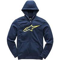 Alpinestar Kid's Ageless Fleece Suéter clásico con Cremallera y Logo Impreso, Niños, Navy/hi Vis Yellow, M