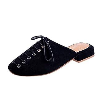 Moonuy Women's Wild Zip Closure Square Head Flat Sandals Women's Fashion Flat Slippers Ladies Girl Fashion Shoes Lace Shoes Flat Heel Princess Shoes Black