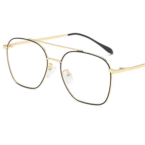 brillengestell Brillenfassungen Brillen Fashion Metal Double Beam Unisex, Gold Schwarz