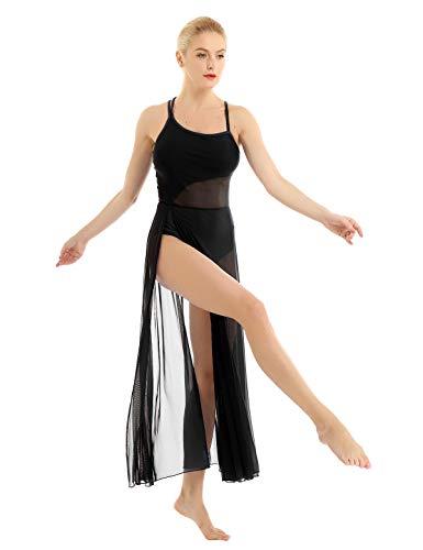 ACSUSS Damen Ballettkleid, Ballettkleid, Gymnastikanzug mit Netzeinsatz - Schwarz - X-Groß