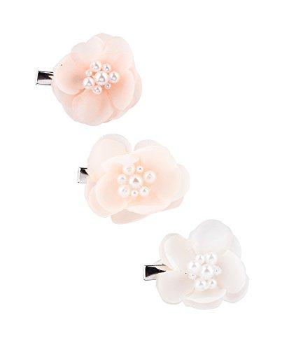 SIX 3-er Set Blumen-Haarschmuck: Haarclips für Hochsteckfrisuren in zarten pastellfarben, Tüll-Blüten mit Perlen, für festliche Anlässe, fes (24-601)
