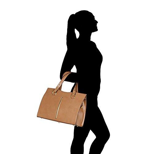 Borsa Da Donna In Vera Pelle Made In Italy Chicca Borse 38x27x12 Cm Taupe