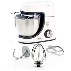 Moulinex QA510110 Robot Pâtissier Masterchef Gourmet 8 Vitesses Pulse Pétrin Fouet Flex Batteur Électrique 1100W Cuisine Blanc