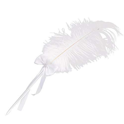 MA87 Markierungsstift Weiße Feder Party Hochzeit Zeichen Stift Nachricht Buch Stifthalter kreative Geschenk Dekoration (C)