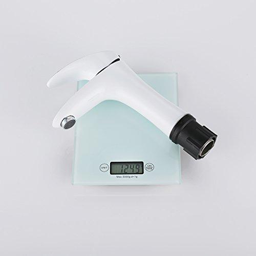 Homelody – Elegante Waschbecken-Armatur, Einhebelmischer, ohne Ablaufgarnitur, SoftClosing, Weiß-Chrom - 9