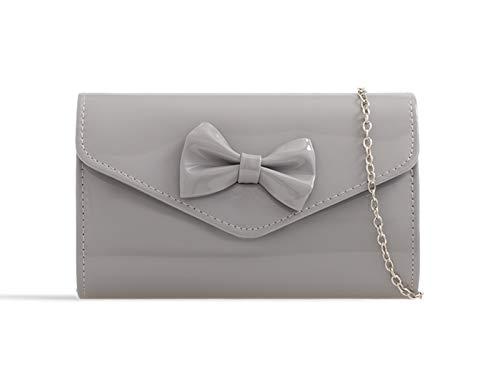 LeahWard Damen Bow Patent Clutch TaschenKlappe über Hochzeitsfest-Abendhandtaschen K18 (Grau) -