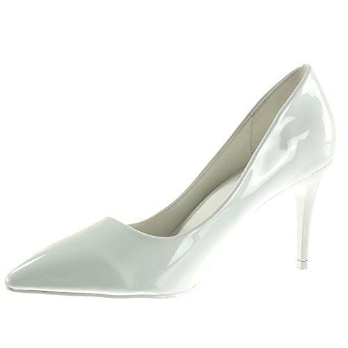 Angkorly Damen Schuhe Pumpe - Stiletto - Dekollete Stiletto High Heel 8.5 cm Weiß