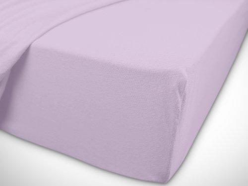npluseins klassisches Jersey Spannbetttuch - erhältlich in 34 modernen Farben und 6 verschiedenen Größen - 100% Baumwolle, 90-100 x 200 cm, flieder - 7