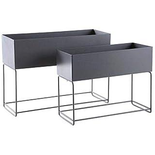 Aubry Gaspard Garten-Sonnen-Set, rechteckig, Metall, 2 Stück