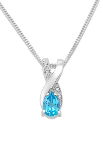 Miore Kette - Halskette Damen Weißgold 9 Karat / 375 Gold Kette  Blauer Topas mit  Diamant Brillianten  45 cm - Ring, Geburtsstein Halskette, Charms