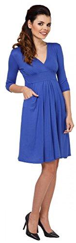 Zeta Ville - Vestito piegoline tasche laterali frontale portafoglio - donna 783z Blu Royal