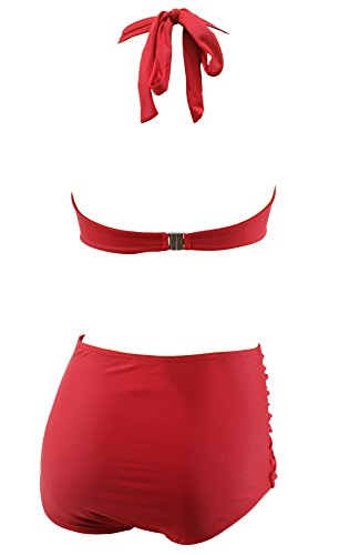 Aloha-Beachwear Damen Vintage Bikini Set high waist Panty Retro 50s 40s uni, A10800 einfarbig rot grün blau Tomaten Rot