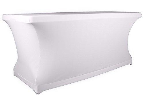 Expand Tischcover, Tischhusse Weiß - Tisch Cover, Husse als Tischdecke - 110cm bis 130cm - Geschlossen - B1 - Stretch