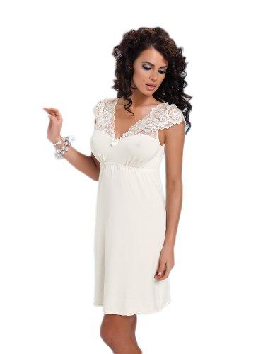 Donna négligé viscosa sottile di ottima qualità camicia da notte con decoro nobile di merletto in una scatola regalo bella