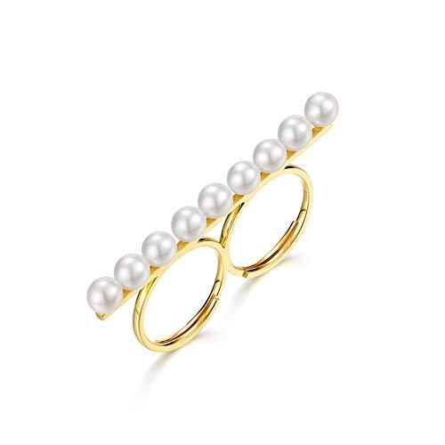 WANZIJING Satz von 2 Sterling Silber Perlenschmuck, Goldbarren Halskette personalisierte Ring einstellbar Juli Geburtstagsgeschenk Hochzeit Brautjungfer Geschenk,Rings1 - Diamant-hochzeit Ring-sätze Gold