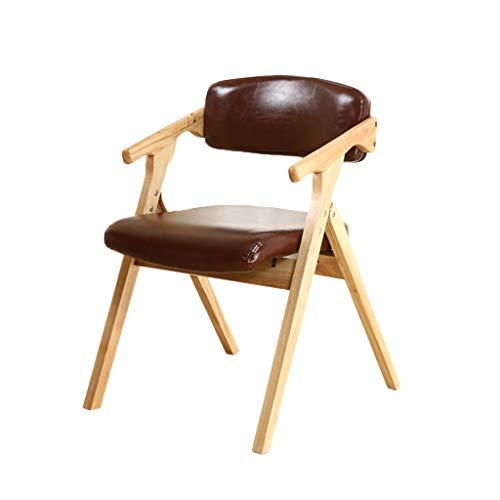 TD26 Plié en bois massif chaise en bois de hêtre rouge brun, coussin en éponge haute élasticité, chaise d'ordinateur à la maison salon chambre à coucher salle à manger, 75 * 54cm