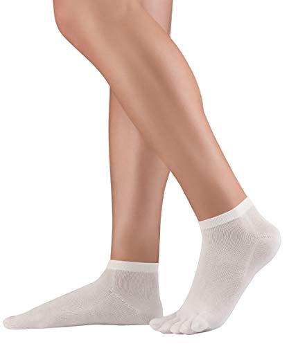 Knitido Dr. Foot® Silver Protect | Antimikrobielle Sneaker Zehensocken mit Silberfäden für Damen und Herren, gegen Schweiß und Fußpilz-Infektionen, Größe:39-42, Farbe:Weiß