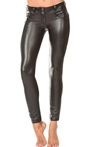 Minetom Damen Lederhose Sexy Skinny Legging Stretch PU Leder Look Optik Schwarz Schlank Hose Kunstleder Treggins (Damen Leder Hose)