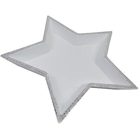 CHICCIE Blanco Estrella Bandeja - Plata Borde - 32cm Bol Deco Navidades