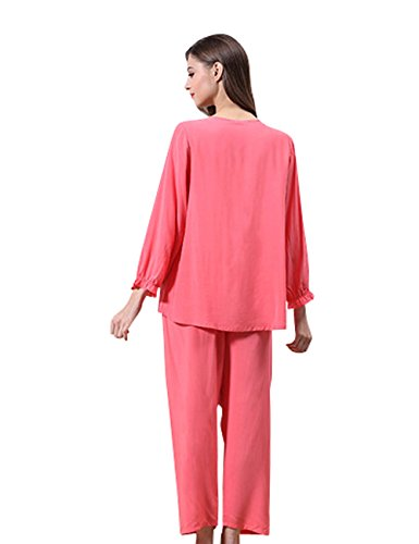 Menschwear Damen Tranquil Dreams Baumwolle Pyjama Komfort Fit Top und Hosen Rot
