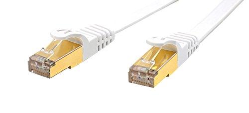 Veetop Lankabel cat7, Netzwerkkabel Patchkabel, 10Gbps 750MHz flaches Internetkabel mit vergoldetem RJ45 ideal für smart home, smart tv, PC, iptv, Gaming, Switch und Gigabit-Netzwerke (2m Weiss)