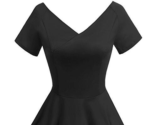 Gardenwed Damen Vintage 1950er V-Ausschnitt Rockabilly Kleid PartyKleid Retro CocktailKleid Black