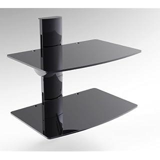 Goldline kleinen Glas 2Sky Box Regal Wandhalterung, DVD-Wandregal, DVD Wandhalterung mit Schwarz Säule und 2Floating schwarz Glas Regal