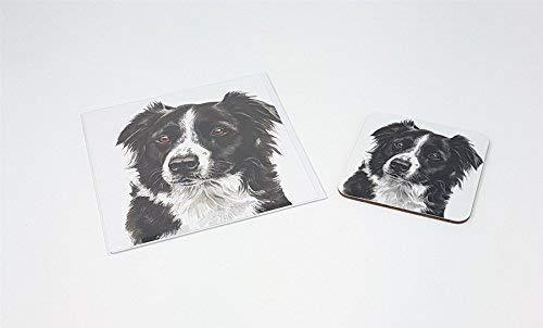 Ensemble 2 Pièces Chien Border Collie Fabriqué au Royaume-Uni de Vœux Anniversaire Carte de Noël dessous de Verre
