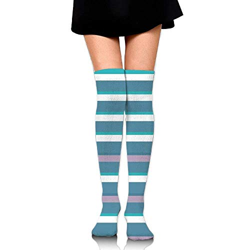 OQUYCZ Women Turquoise Dark Teal Stripes Thick and Thin Lines with Aqua Colors Pattern Not Easy Pilling High Boot Socks